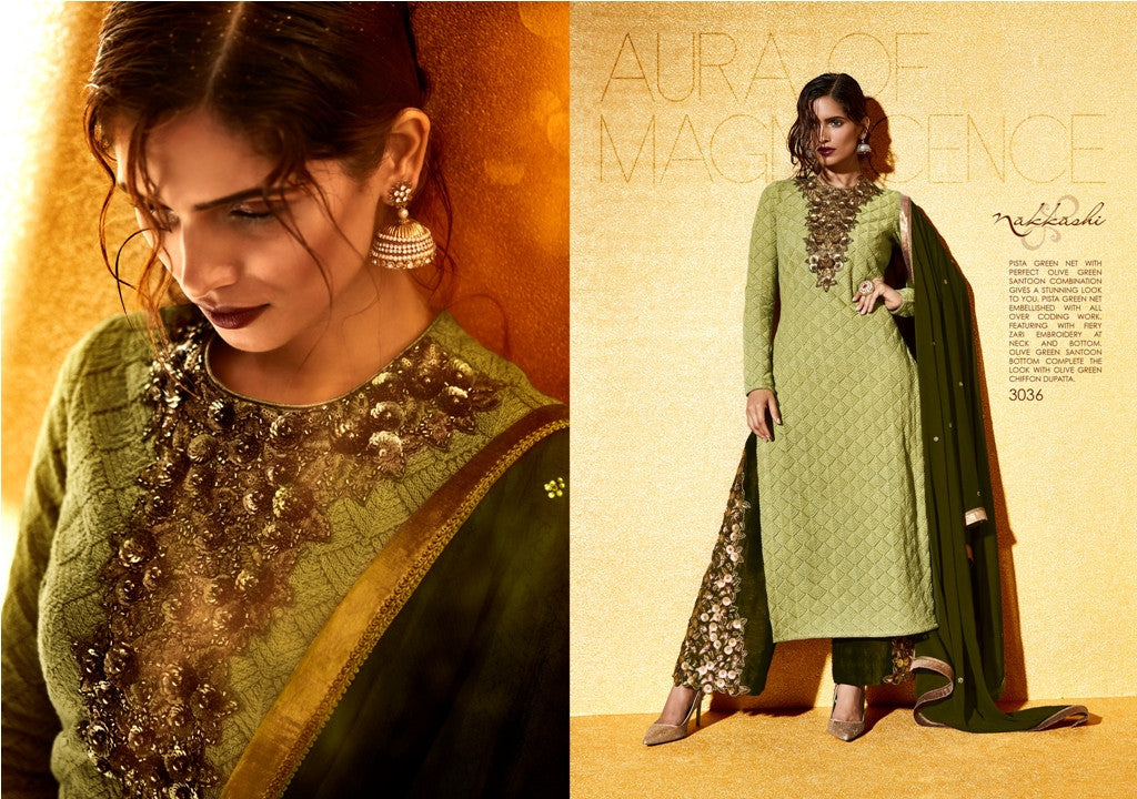 NAK3036 Attractive Trendy Ethnic Green Net Salwar Suit - Fashion Nation