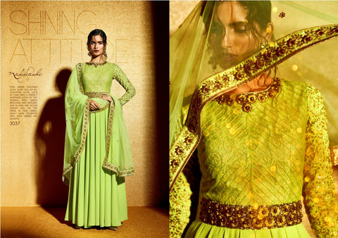 NAK3037 Awesome Party Indo Western Pista Green Moss Brocade Anarkali Gown - Fashion Nation