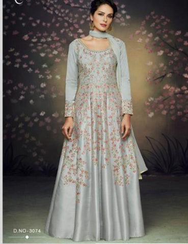 Indo Western NAK3074 Nakkashi Designer Grey Satin Silk Anarkali Gown by Fashion Nation