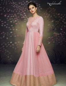 Indo Western NAK3075 Nakkashi Special Pink Satin Silk Anarkali Gown - Fashion Nation