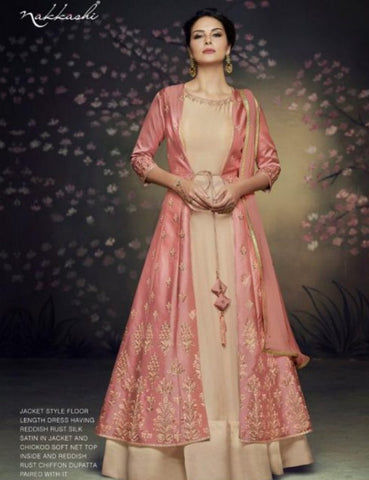 Indo Western NAK3077 Nakkashi Latest Rust Satin Silk Beige Net Anarkali Gown with Jacket by Fashion Nation