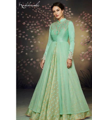 Indo Western NAK3078 Nakkashi Gorgeous Sea Green Net Brocade Floor Length Anarkali Gown by Fashion Nation