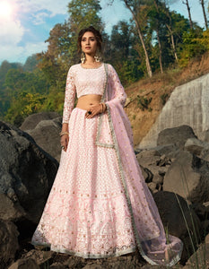 Party Wear AD3601 Designer Pink Net Lucknowi Lehenga by Fashion Nation