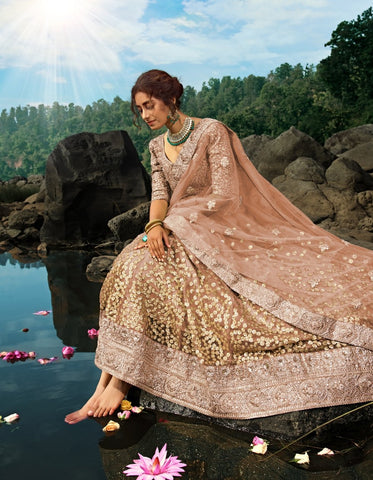 Handcrafted AD3605 Designer Brown Net Silk Lehenga Choli by Fashion Nation