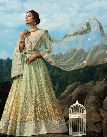 Handcrafted AD3606 Designer Sea Green Net Silk Lehenga Choli by Fashion Nation