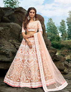 Delicate AD3607 Designer Peach Net Lehenga Choli by Fashion Nation