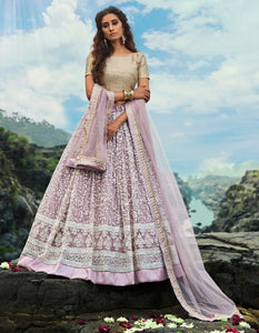 Stylish AD3608 Designer Lilac Net Lehenga Choli by Fashion Nation