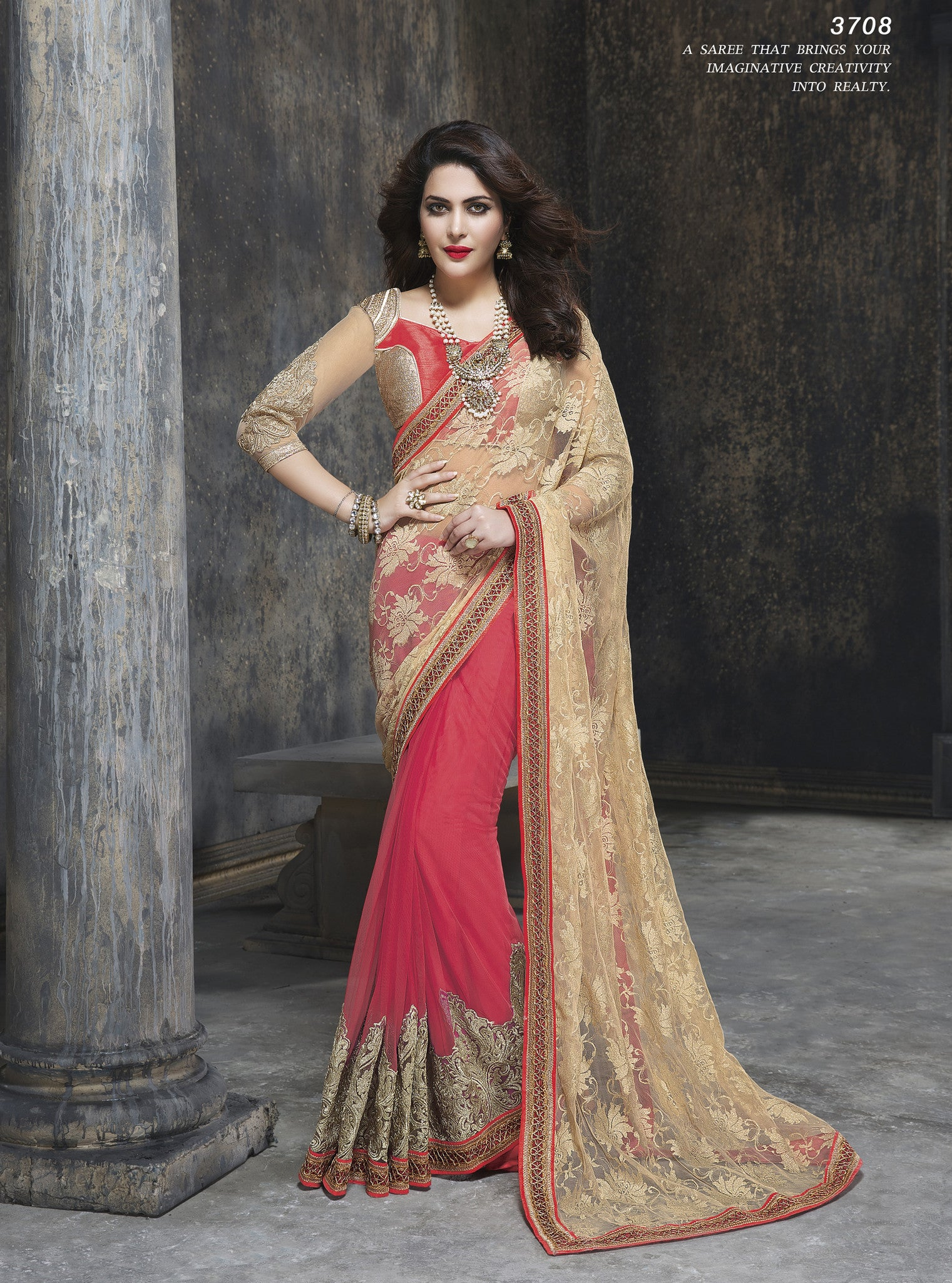 ME3708 Designer Pink Beige Net Saree - Fashion Nation