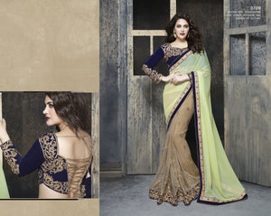 ME3709 Designer Yellow Beige Net Chiffon Saree - Fashion Nation