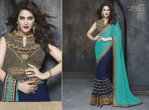 ME3710 Designer Blue Golden Net Chiffon Saree - Fashion Nation
