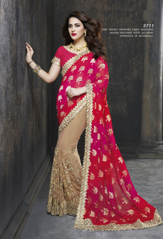 ME3711 Designer Beige Shaded Red Pink Net Chiffon Saree - Fashion Nation