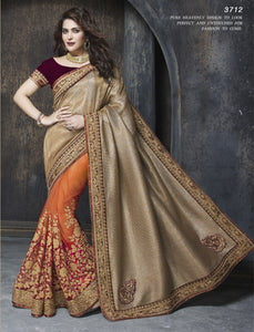 ME3712 Designer Beige Shaded Red Orange Net Jacquard Saree - Fashion Nation