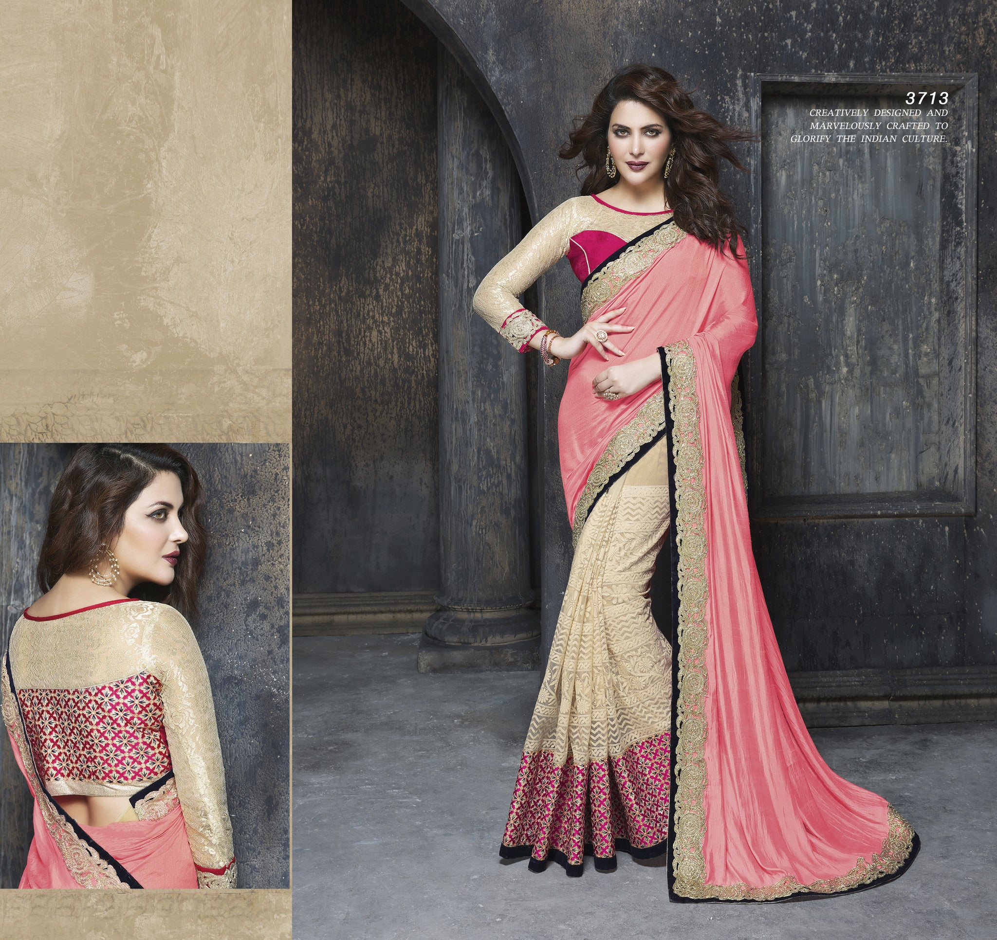 ME3713 Designer Beige Pink Net Georgette Saree - Fashion Nation