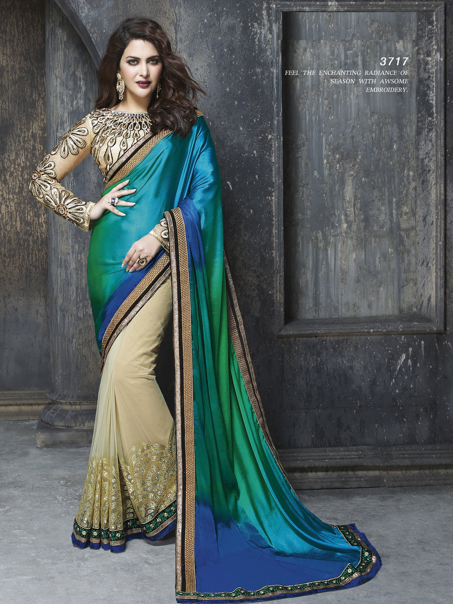 ME3717 Designer Shaded Green Blue Beige Net Chiffon Saree - Fashion Nation