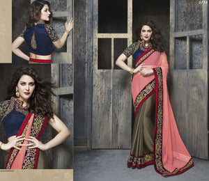 ME3718 Designer Grey Peach Blue Georgette Chiffon Saree - Fashion Nation.in
