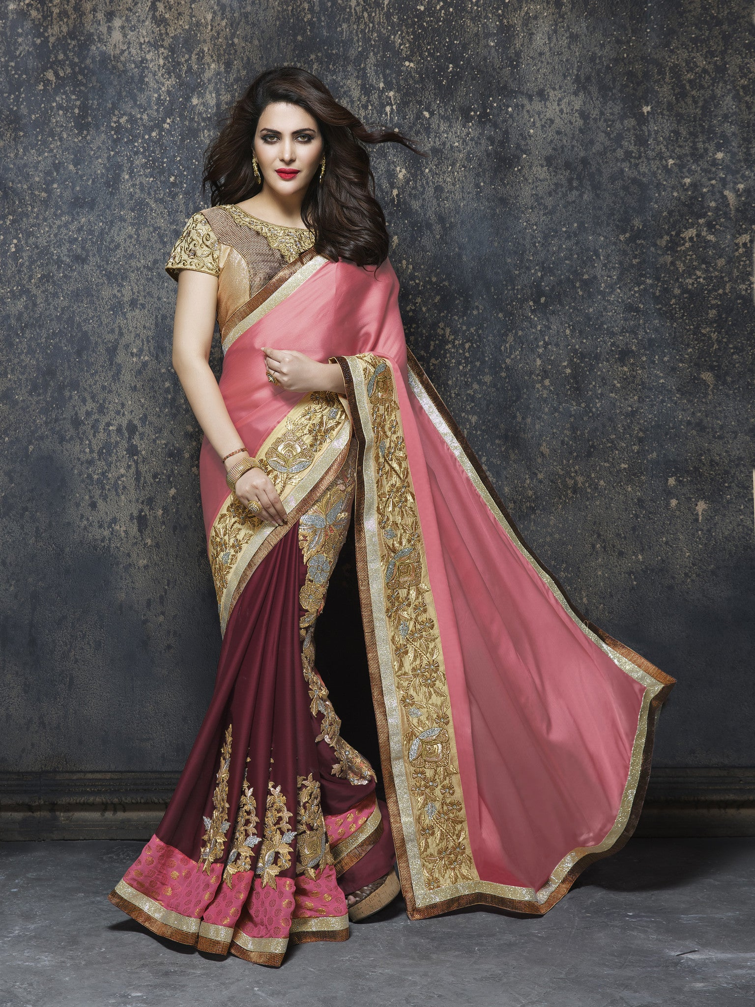 ME3719 Designer Pink Georgette Chiffon Saree - Fashion Nation