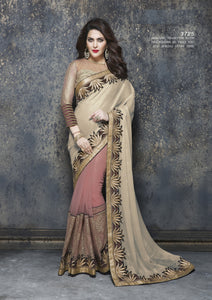 ME3725 Designer Beige Pink Net Chiffon Saree - Fashion Nation