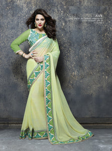 ME3726 Designer Cream Yellow Green Chiffon Saree - Fashion Nation