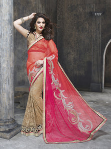 ME3727 Designer Beige Shaded Red Pink Net Chiffon Saree - Fashion Nation