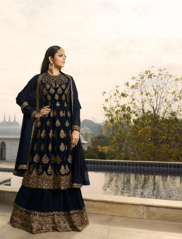 Fusion Wear NIT3801 Blue Georgette Anarkali with Lehenga by Fashion Nation