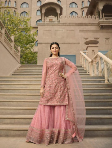 Designer Fusion Wear NIT3802 Pastel Pink Net Top with Palazzo by Fashion Nation