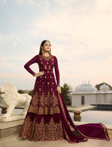 Embroidered Fusion Wear NIT3805 Purple Georgette Anarkali with Lehenga by Fashion Nation