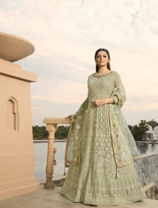 Abaya Style NIT3806 Pastel Green Georgette Silk Net Indo Western Long Anarkali - Fashion Nation