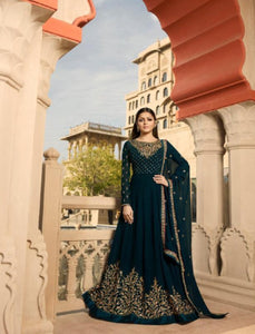 Abaya Style NIT3807 Blue Georgette Silk Indo Western Long Anarkali - Fashion Nation
