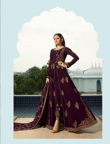 Trendy Fusion Wear NIT3808 Purple Georgette Silk Long Anarkali with Embroidered Pants - Fashion Nation