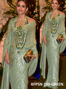 Fashion Wear KF3831 Bollywood Inspired Green Silk Georgette Saree - Fashion Nation