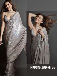 Tara Sutaria KF3834 Bollywood Inspired Grey Silk Georgette Saree - Fashion Nation