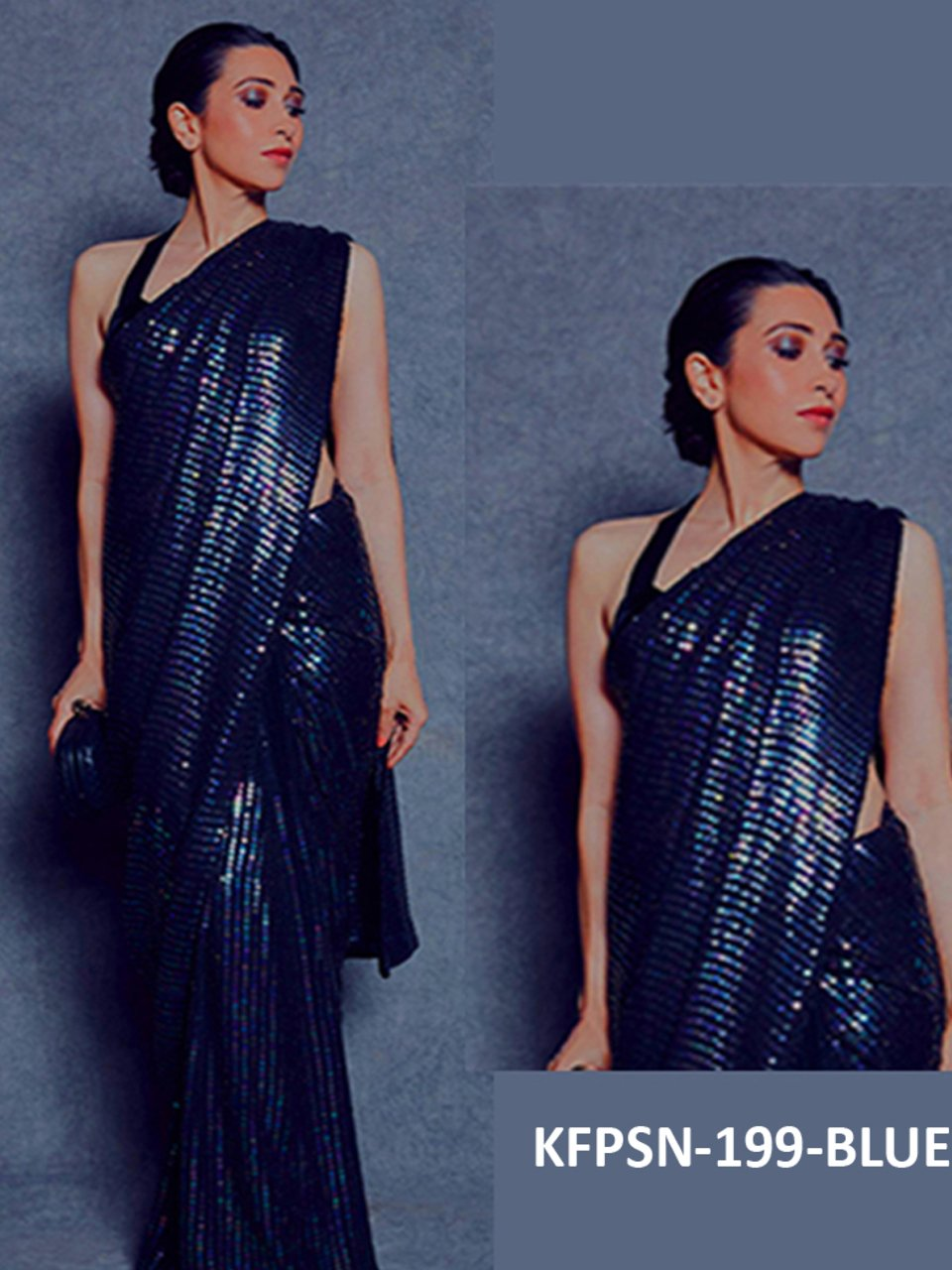 Karishma Kapoor KF3835 Bollywood Inspired Blue Silk Georgette Saree - Fashion Nation