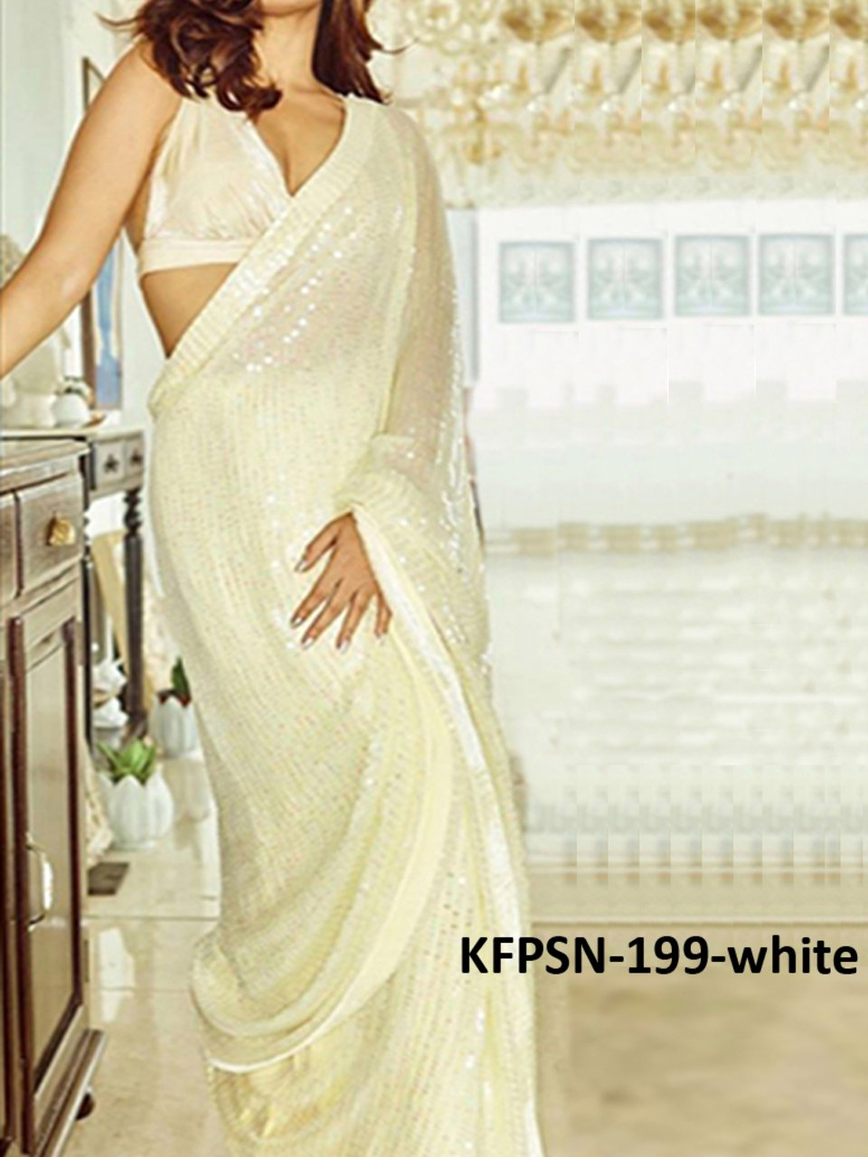 Celebrity Wear KF3836 Bollywood Inspired White Silk Georgette Saree - Fashion Nation