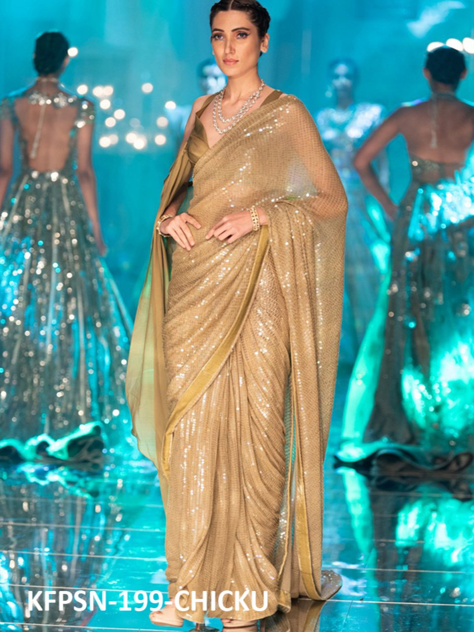 Celebrity Fashion KF3837 Bollywood Inspired Beige Silk Georgette Saree - Fashion Nation