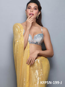 Jacqueline Fernandez KF3838 Bollywood Inspired Yellow Silk Georgette Saree - Fashion Nation