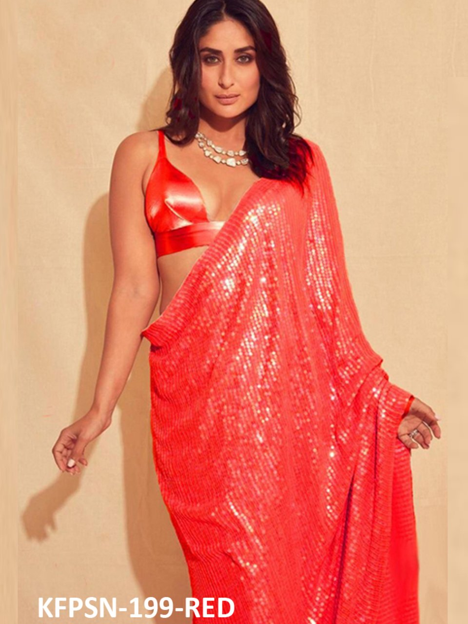 Kareena Kapoor KF3839 Bollywood Inspired Red Silk Georgette Saree - Fashion Nation