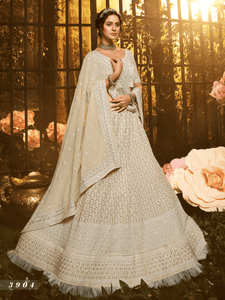 Dainty White Georgette Lucknowi Lehenga Choli by Fashion Nation