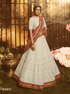 Royal White Georgette Lucknowi Lehenga Choli by Fashion Nation