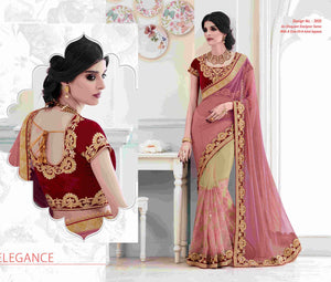 Amazing MEL3920 Elegant Pink Beige Maroon Shimmer Net Saree - Fashion Nation