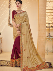 Must Have PS40204 Designer Golden Maroon Silk Saree - Fashion Nation