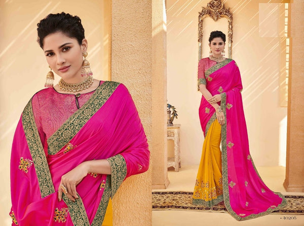 Marvellous PS40205 Designer Pink Yellow Silk Saree - Fashion Nation
