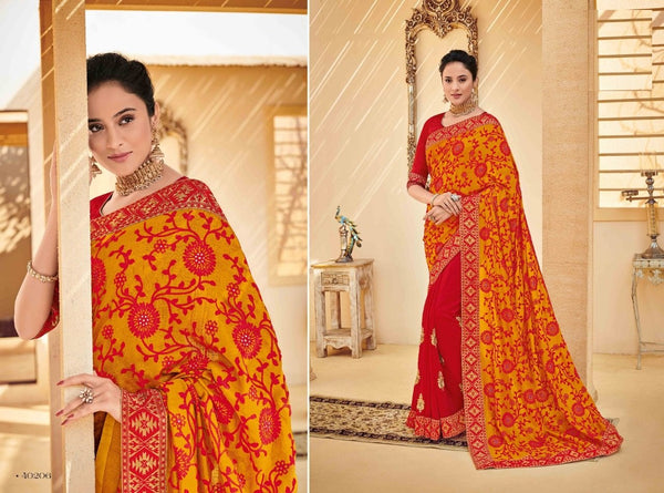 Pretty PS40206 Designer Red Yellow Silk Saree - Fashion Nation