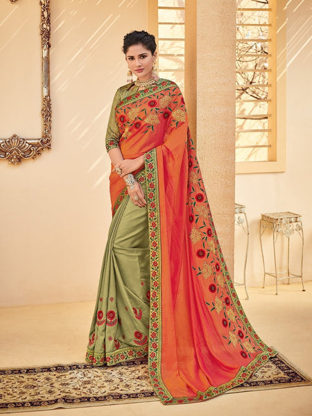 Royal PS40209 Designer Orange Green Silk Saree - Fashion Nation