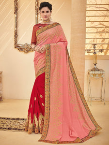 Radiant PS40210 Designer Red Pink Silk Saree - Fashion Nation
