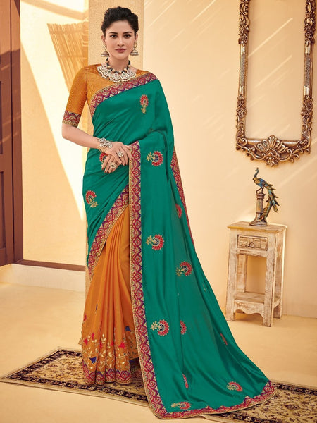 Fabulous PS40211 Designer Green Mustard Silk Saree - Fashion Nation