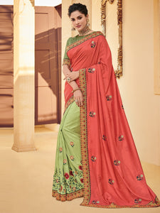 Pretty PS40212 Designer Green Peach Silk Saree - Fashion Nation