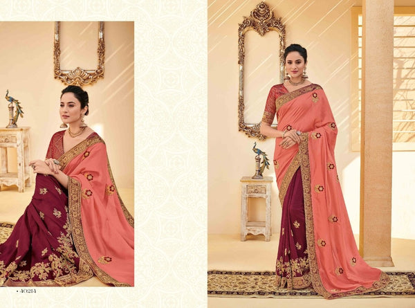 Nice PS40214 Designer Maroon Pink Silk Saree - Fashion Nation