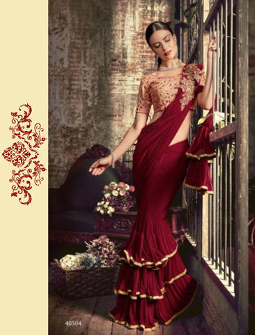 Trendy TV40504 Designer Pink Maroon Silk Lycra Frill Ruffles Saree by Fashion Nation