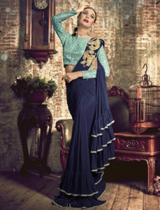 Evening Wear TV40505 Designer Blue Silk Lycra Frill Ruffles Saree by Fashion Nation