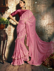Attractive TV40506 Designer Coral Pink Maroon Silk Lycra Frill Ruffles Saree by Fashion Nation